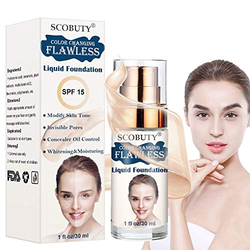 Flawless Finish Foundation,Liquid Foundation,Flawless Colour Changing Foundation,Liquid Foundation Makeup Face Liquid Foundation Waterproof Concealer Cover Cream for All Skin Types