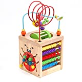 Amagoing 6-in-1 Multifunction Bead Maze Roller Coaster Wooden Activity Center Learning Cube Toys for Kids Children