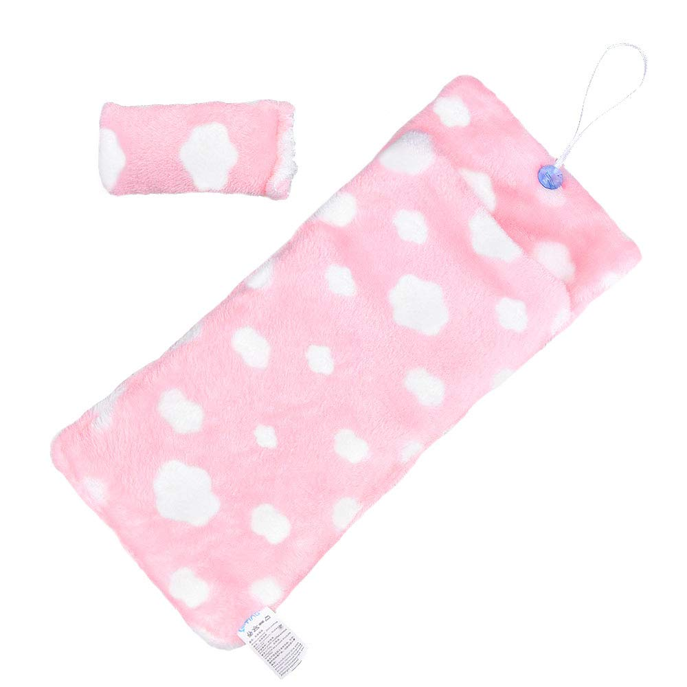 E-TING Handmade Fluff Sleeping Bag for Girl Doll Bedroom Accessories Pink Heart