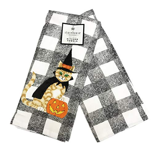 Festive Cat in Witch Costume Set of Two Decorative Black & White Plaid Halloween Themed Kitchen Hand Towels -