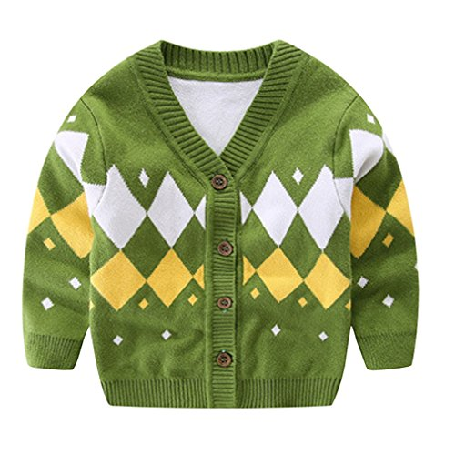 La Vogue Baby V-Neck Knitting Rhombus Pattern Cardigan Sweater 80cm Green