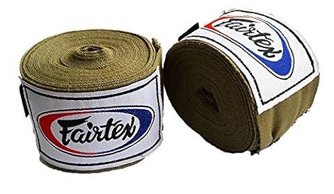 Fairtex Muay Thai Boxing Elastic Cotton Handwraps HW2 Hand Wraps Color Army Khaki used in Muay Thai, Boxing, Kickboxing, (Fairtex Muay Thai Ankle Supports)