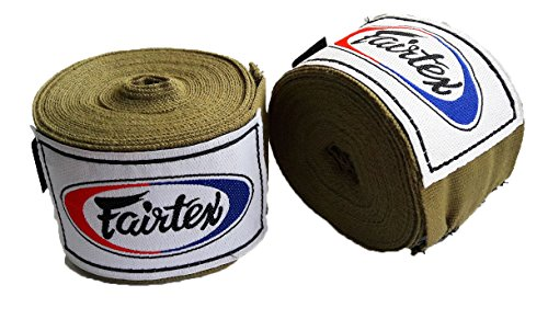 Fairtex Muay Thai Boxing Elastic Cotton Handwraps HW2 Hand Wraps Color Army Khaki used in Muay Thai, Boxing, Kickboxing, MMA by Fairtex
