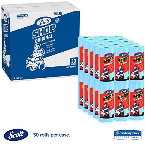 Scott Shop Towels, Roll 10 2/5 x 11, Blue (55 Sheets/Roll, 30 Rolls/Carton)