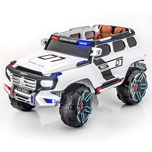 Police Car Battery - SPORTrax Rescue Kid's Ride On Electric Police Car, Remote Control w/Free MP3 Player - White