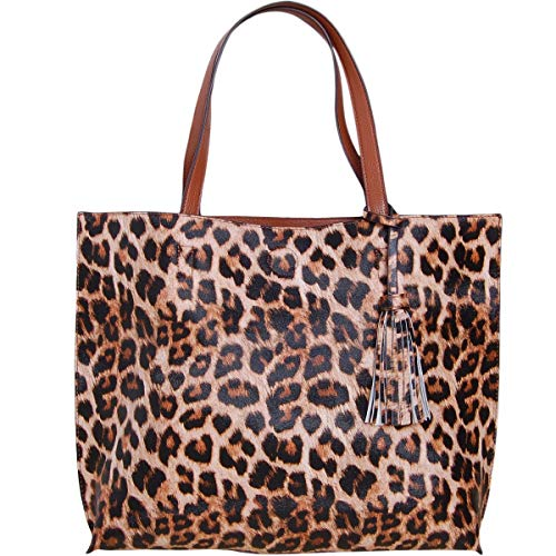 (Humble Chic Large Vegan Leather Tote Bag Reversible Shoulder Handbag Tassel Purse, Leopard & Saddle Brown, Camel, Cognac, Walnut, Black,)