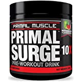 Primal SURGE Pre Workout Supplement - Best Preworkout Energy Drink with Beta Alanine & Taurine - NO Side-Effects - Sustained Energy & Endurance for Men & Women | Watermelon - 30 Servings