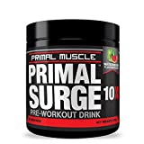 Primal Muscle Surge Pre Workout Drink - Bodybuilding Energy Drink Powder For Men & Women with Beta-Alanine - Watermelon Flavor - 245 g