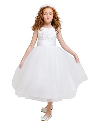 2df4a980fd1b68 Amazon.com  Kid Collection Girls Flower Girl Wedding Dress  Clothing