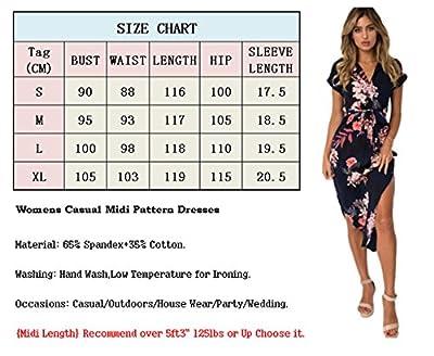 Poptem Womens Casual Midi Dresses Short Sleeve Long Skirt Tunic Split Summer Floral Pattern Belted Dress