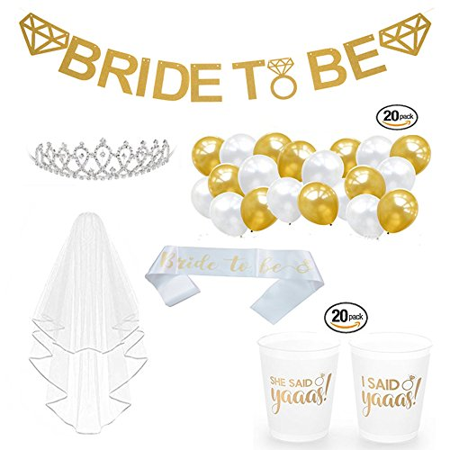 Bachelorette Party Decorations Kit (6 Items / 44 Pcs) | Bridal Shower Supplies | Gold Banner, Bride to Be Sash, Veil, Cups, Tiara, White Gold (Tiara Flat Cup)