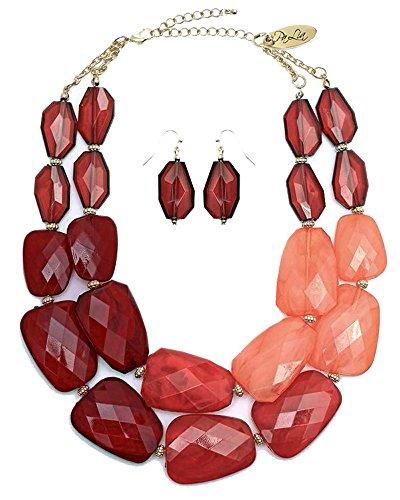 (Secret for Longevity Brown Amber Cola Rust Tortoise Brick Red Peach Colored Resin Big Chunky Choker Collar Statement)