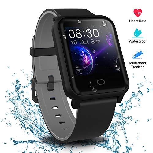 (Fitpolo Health Smart Watch, Waterproof Fitness Tracker HR with Sleep Monitor, Step Calories Counter, Stopwatch, Breath Training, Pedometer, Activity Tracker for Kids Woman Man (Black and Grey))