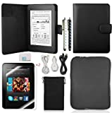 Llamamia Kindle Paperwhite Leather Case Cover+car Charger+cable+bag Sleeve+screen Protector+sparkle Bling Stylus Pen in Retail Packaging(black), Best Gadgets