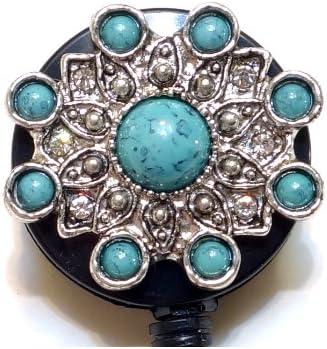 Retractable ID badge holder reel Turquoise Stone