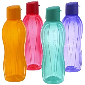 Tupperware Flip Top Water Bottle Set, 750ml, Set of 4, Multicolor