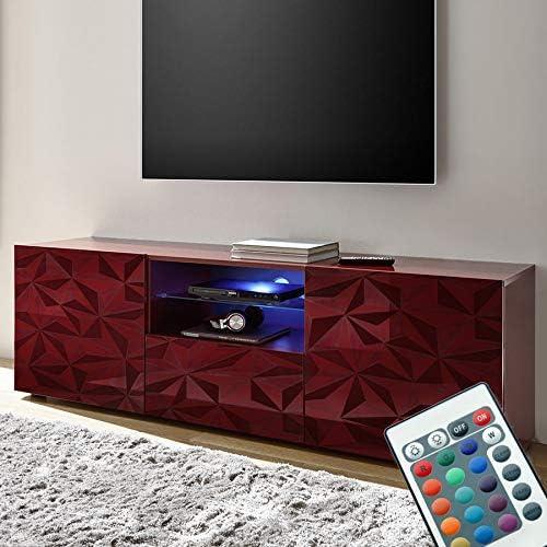 NOUVOMEUBLE Mueble Grande para televisor Luminoso Rojo Lacado ...