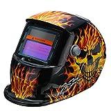 OlogyMart Solar Auto Darkening Welding Helmet Tig Mask Grinding Welding Mask Yellow Skeleton Chain Pattern
