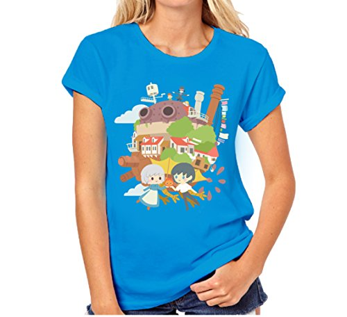 Inksterinc Clearance Howl's Moving Castle T-Shirt Howls Moving Castle, Howls Moving Castle Gift, Studio Ghibli (Small, Blue)