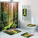 Bathroom 5 Piece Set shower curtain 3d print Multi Style,Farm House Decor,Forest Spring Time Sunset Moss Woods Leaf Wilderness Fantasy Magical View,Green Brown,Bath Mat,Bathroom Carpet Rug,Non-Slip,Ba