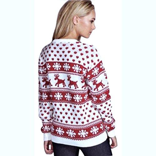 ABCone Donna Maniche Natale Collo Casual O Rosso Autunno Pullover Camicie Elegante Stampa Tops Shirt Camicette Floreale T Lunghe Felpa Natale PPdcSwRrq