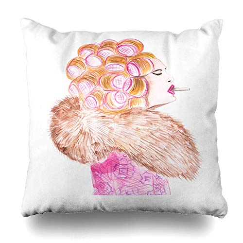 Ahawoso Throw Pillow Cover Pillowcase Red 50S Drawing Watercolor Retro Girl Hair Vintage Birthday Color Comic Design Hairstyle Home Decor Square 20x20 Zipper Cushion Case