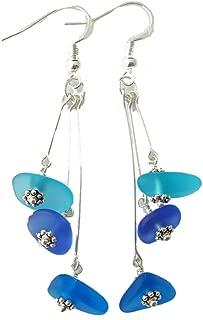 "product image for Handmade""Three Colors of the Hawaiian Ocean"", sea glass earrings, (Hawaii Gift Wrapped"