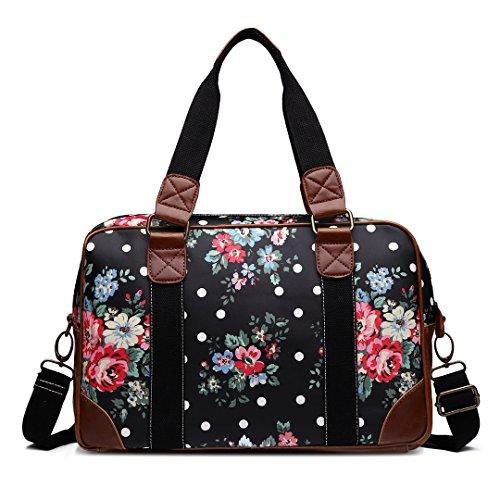 Miss Lulu Chouette Motif Floral en forme de Papillon en toile cirée à pois-Fourniture Scolaire-Sac de voyage week-end Noir - Motif à fleurs - Noir