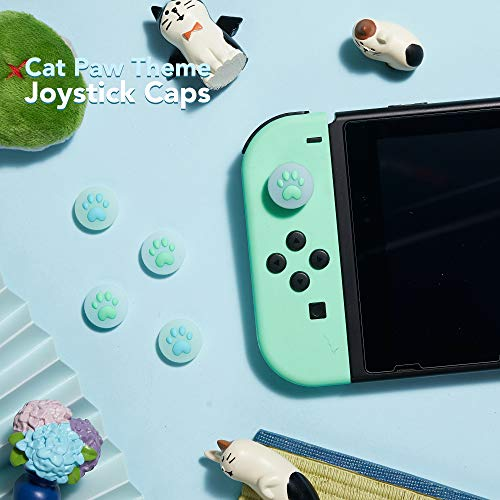 LeyuSmart Upgrade Cat Paw Thumb Grip for Nintendo Switch & Lite, Clear Silicone Joystick Cap, Soft Cover Skin for Joy-Con Controller 4PCS(AnimalCrossing)