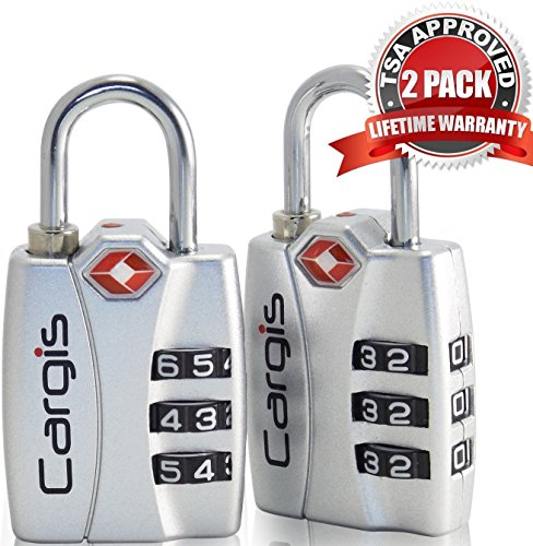 Cargis TSA Approved Luggage Locks. Heavy Duty Personalized Combination Travel Lock with Open Alert and Lock Safe Protection (2 Pack).