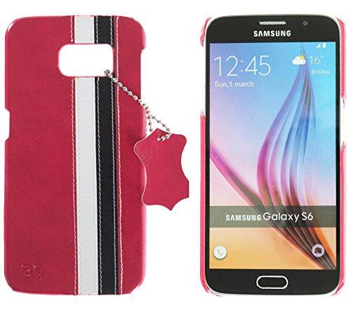 3Q Samsung Galaxy S6 Hülle Luxus Klasse Handy-Tasche Etui in hochwertigen top premium Leder-Optik Schweizer Premium Design und Verpackung Handy-Hülle Cover Rosa-Weiss-Schwarz