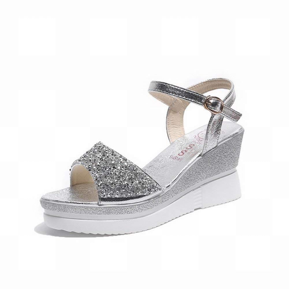 Slope mit Knöchelriemen Schnalle Pailletten Sandalen Weibliche Wasserdichte Plattform Offene Offene Offene Schuhe (Farbe   Silber Größe   39) 0ccf3d