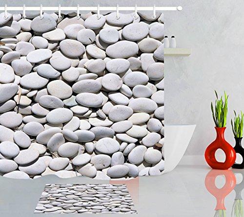 LB White Pebbles Pattern Stone Rock River Bed Scene Bathroom Decor Shower Curtain Bath Rug Set, 70x70 Bathroom Curtain Waterproof Mildew Free, 15x23 Flannel Surface Rug