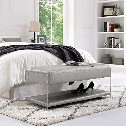 Inspired Home Silver Croc Leather Bench - Design: Galileo | Acrylic Sides | Bottom Shelf | Entryway & Bedroom