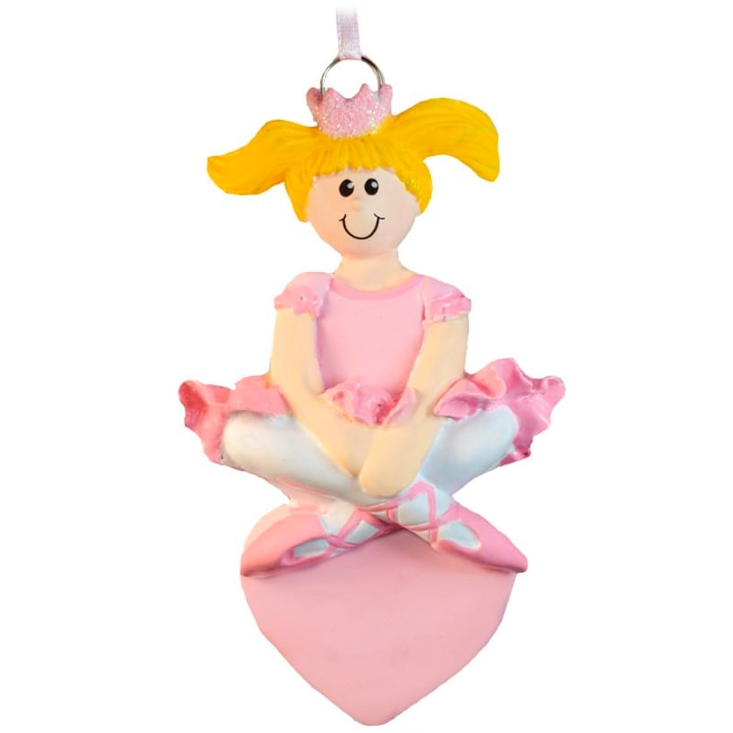 Personalized Ballet Princess Christmas Ornament for Tree 2018 - Blonde Ballerina in Pink Dress with Crown Heart - Dancer First Performance Art Girl School Teen - Free Customization (Yellow Hair)