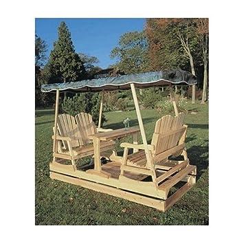Amazon Com Deluxe Cedar Duplex Garden Glider W Shade Burgundy