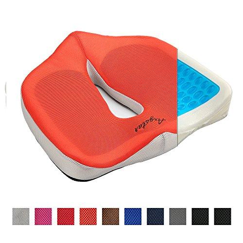 Argstar Coccyx Orthopedic Gel Memory Foam Seat Cushion for Sciatica Relief Orange by Argstar