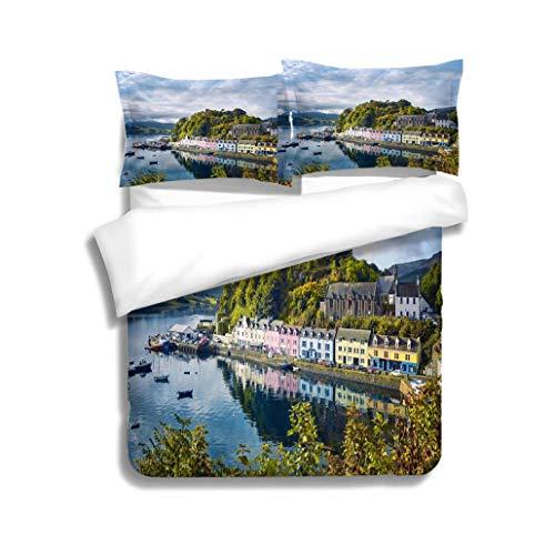 MTSJTliangwan Duvet Cover Set Portree Isle of Skye Scotland 3 Piece Bedding Set with Pillow Shams, Queen/Full, Dark Orange White Teal ()