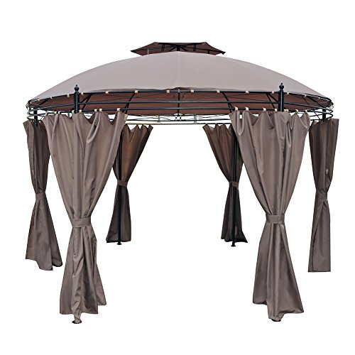 Le Papillon 11.5′ Round Gazebo Pergola Canopy Shelter with Removable Side Curtains Review