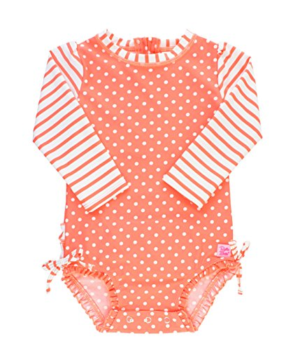 RuffleButts Baby/Toddler Girls Coral Polka One Piece Rash Guard - 3-6m