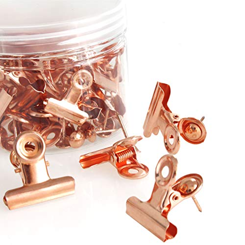 Rose Gold Metal Push Pin with Clip for Cork Boards - Bulletin Boards and Cubicle Walls Great Alternative (30PACK)) -