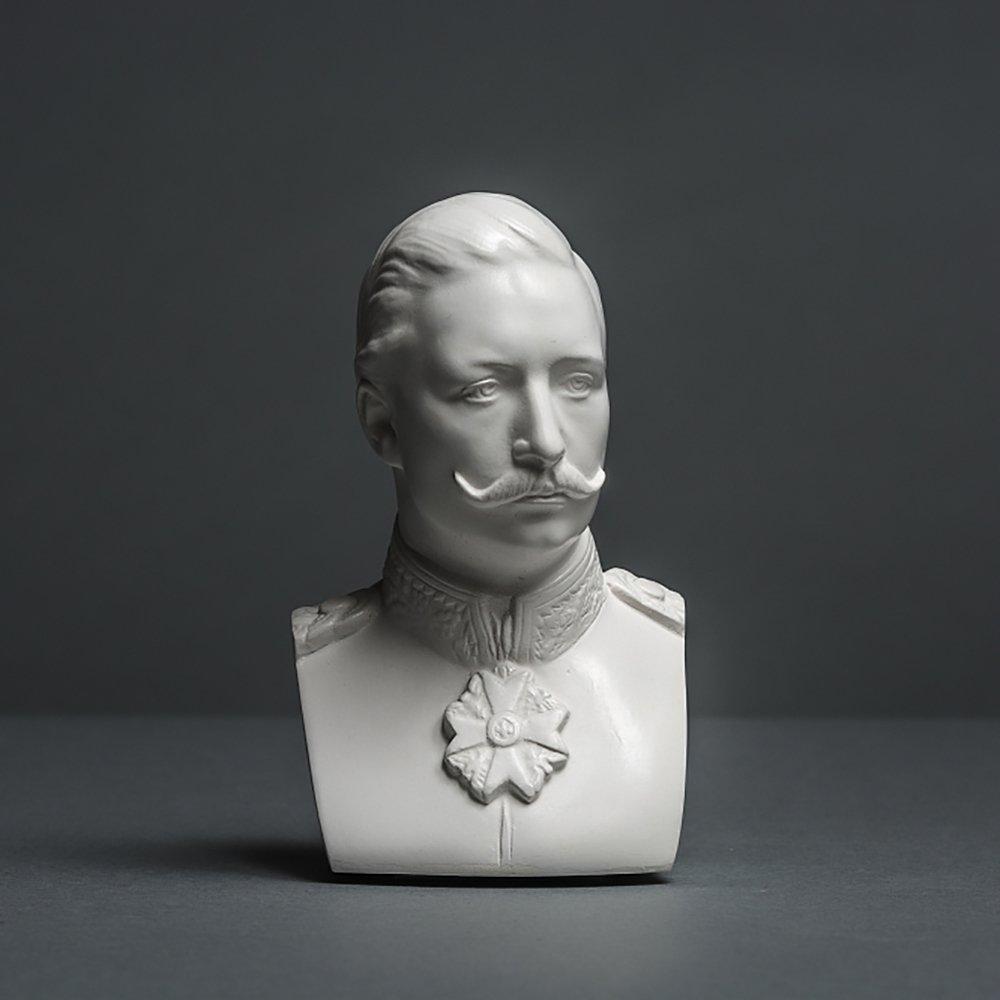 Skulpturenmanufaktur Potsdam Kaiser Wilhelm II - Scultura in cellulosa di Alta qualità , Realizzata a Mano in Germania, Busto Bianco, 12 cm Alex Agwanjan