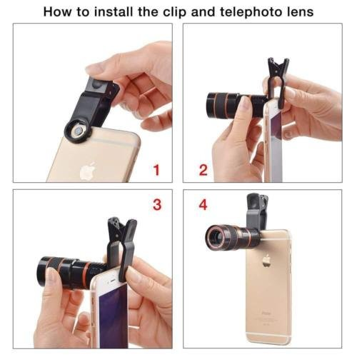 Passion store Smartphone Camera Lens 12X Telescope,Camera Phone Lens with Tripod, Camera Lens Kit +Fish Eye Lens+ Wide Angle Lens+ Macro Lens for iPhone X 8 7 6 Plus and Android by Passion Store (Image #4)