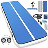 LIVIQILY Inflatable Air Track Home Gymnastics Tumbling Mat Gym Yoga Mat Cheer Track Floor with Air Pump for Tumble/Gym/Training/Cheerleading/Water