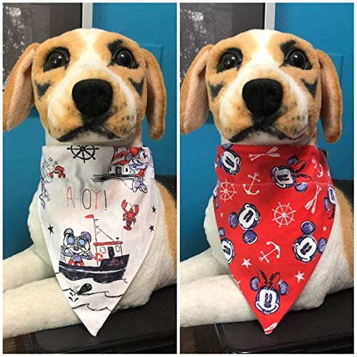 Reversible Over The Collar Pet Bandana Disney Nautical Mickey and Minnie Mouse Dogs Cats 2 in 1 Slide On