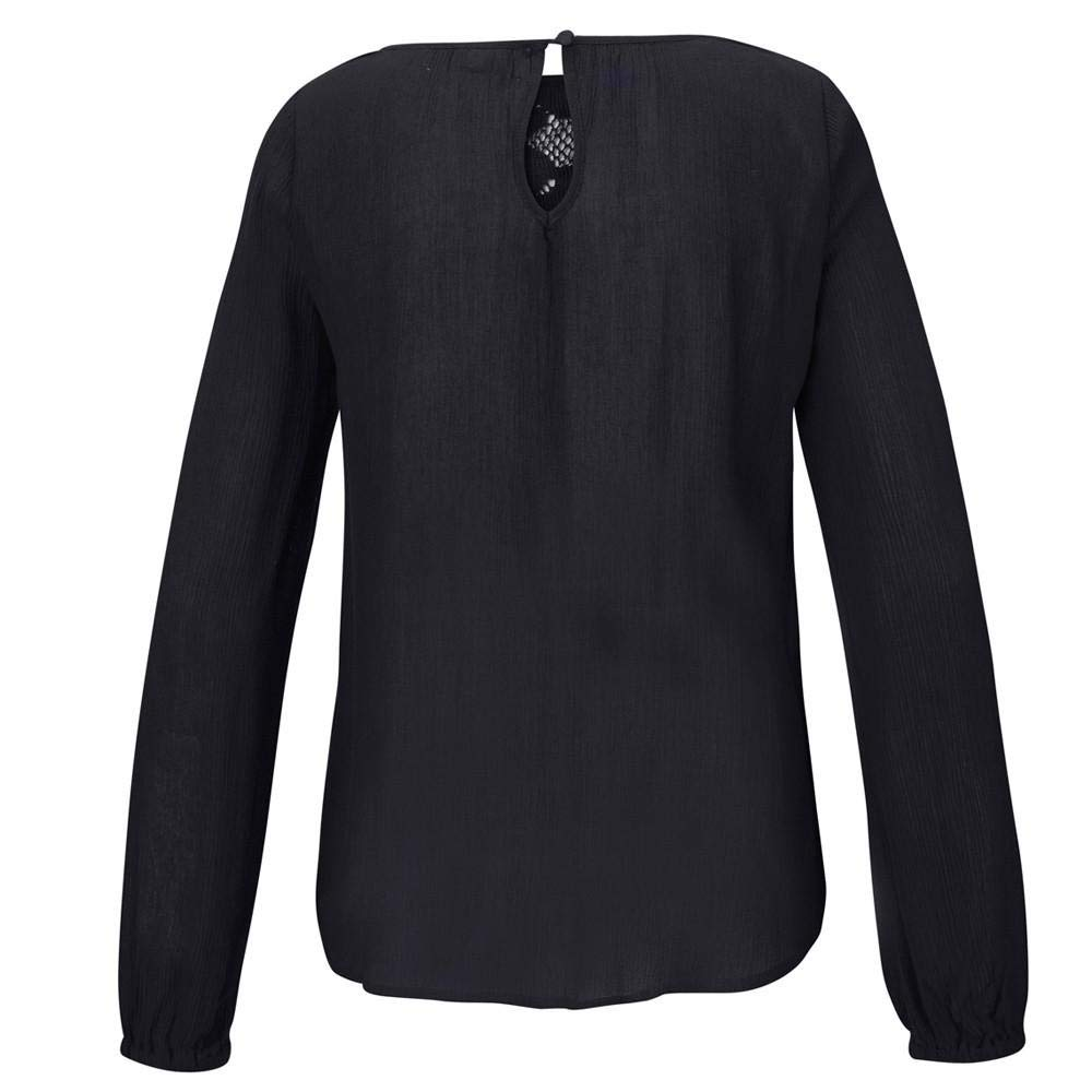 ZZpioneer Womens Long Sleeve Tops,Casual Lace Patchwork O-Neck Pleated Solid Color Pullover Autumn T-Shirt
