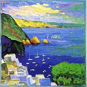 希臘風景,高檔純手繪無框油畫,尺寸:60x60cm,風景油畫,海邊白房子