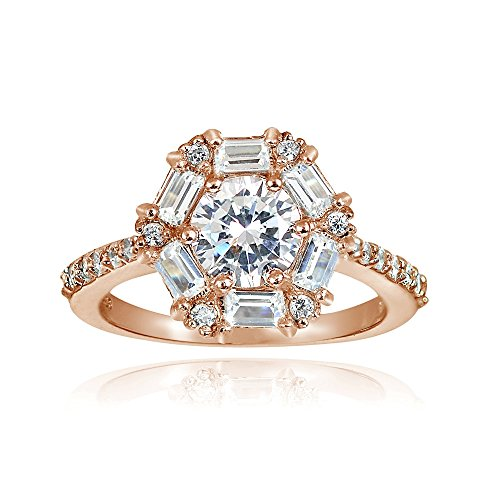 Ring Heart Baguette (Hoops & Loops Rose Gold Flash Sterling Silver 2.4ct Cubic Zicronia Baguette-Cut Flower Ring)