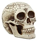 Atlantic Collectibles Solar Astrology Celestial Skull Statue Ancient Prophecy Cartography Relic Map Skull Cranium Decorative Figurine