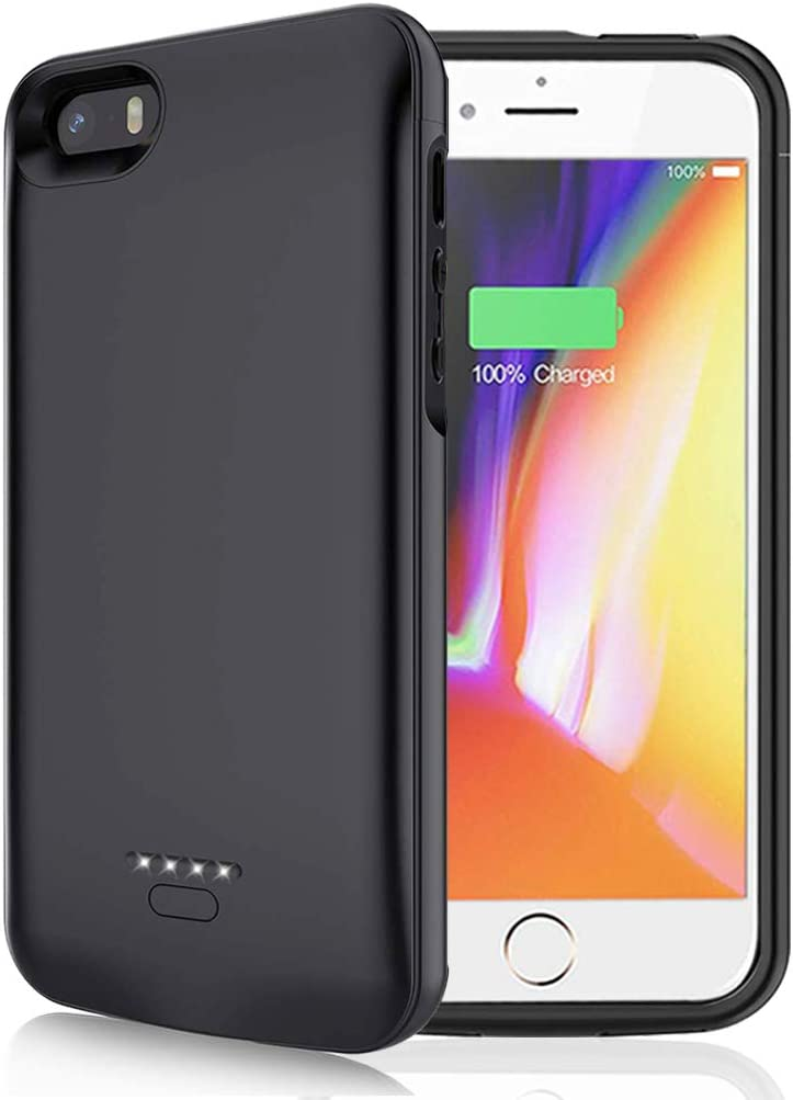 Battery Case for iPhone 5/5S/SE, 4000mAh Portable Protective Charging Case Compatible with iPhone 5/5S/SE (4.0 inch) Rechargeable Extended Battery Charger Case (Black)